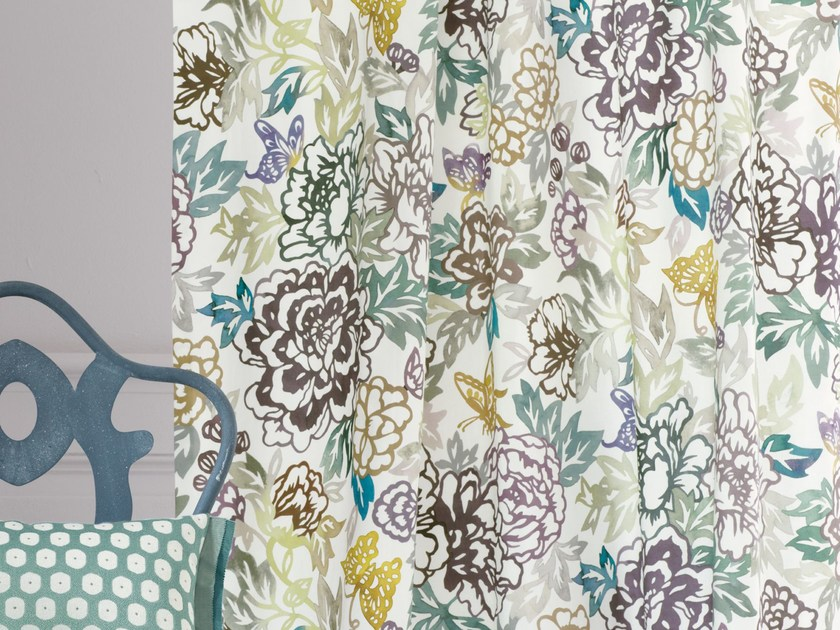 Printed cotton fabric with floral pattern VASTERIVAL   Fabric for curtains by Zimmer + Rohde
