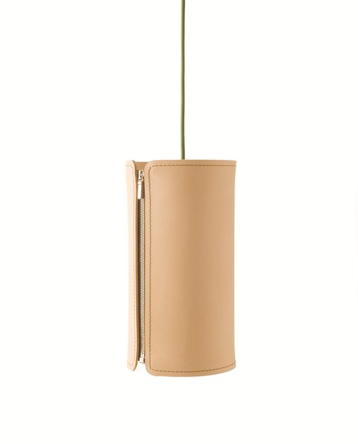 Leather pendant lamp TUBE by Formagenda