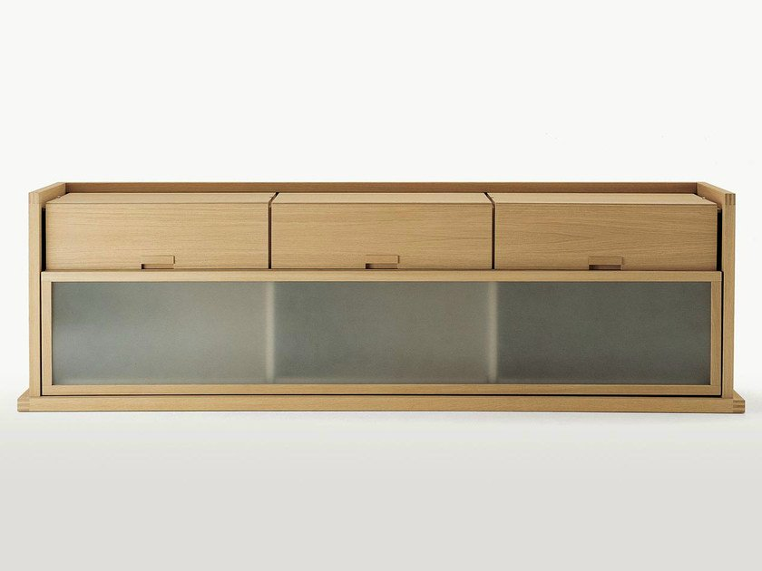 Wood and glass sideboard with sliding doors with drawers INCIPIT | Sideboard by Maxalto