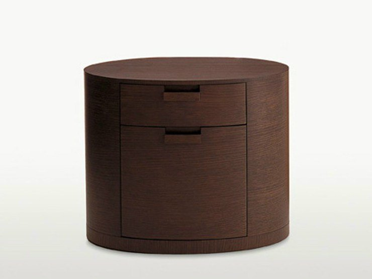 Oval Wooden Bedside Table With Drawers Amphora By Maxalto