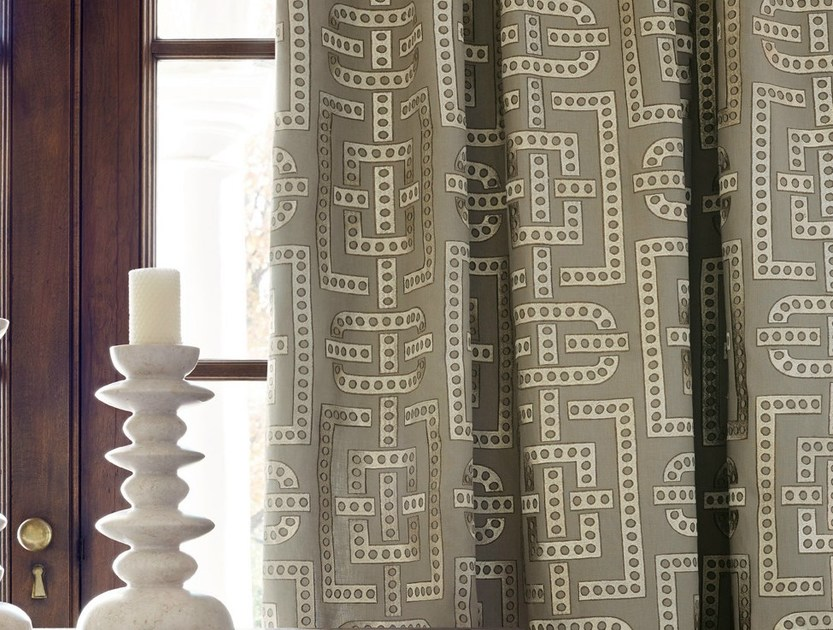 Embroidered fabric with graphic pattern DOMINOS by Zimmer + Rohde