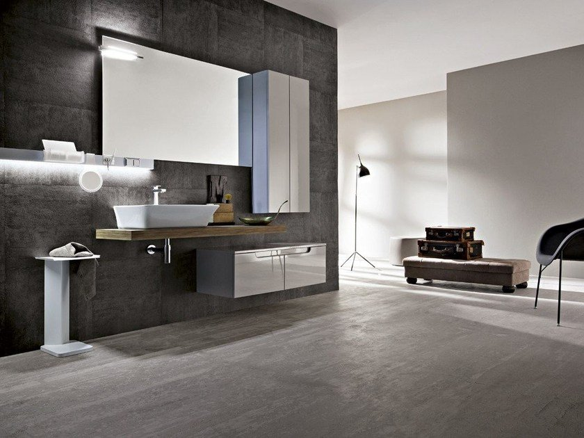 Vanity unit with cabinets with drawers with mirror RYO 40/41 by Cerasa