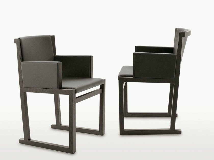 Sled base solid wood chair with armrests MUSA   Chair with armrests by Maxalto