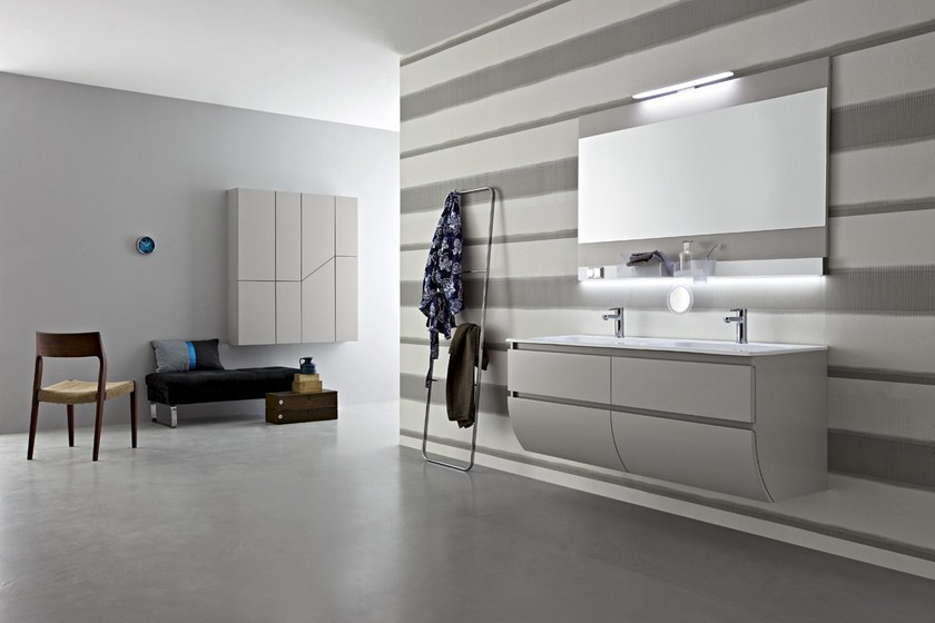 Double wall-mounted vanity unit with drawers JOY 52/53 by Cerasa