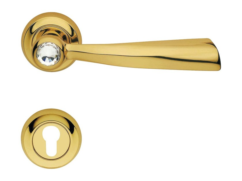 Chromed brass door handle with Swarovski® Crystals on rose with lock ELIKA CRYSTAL | Door handle with lock by LINEA CALI'