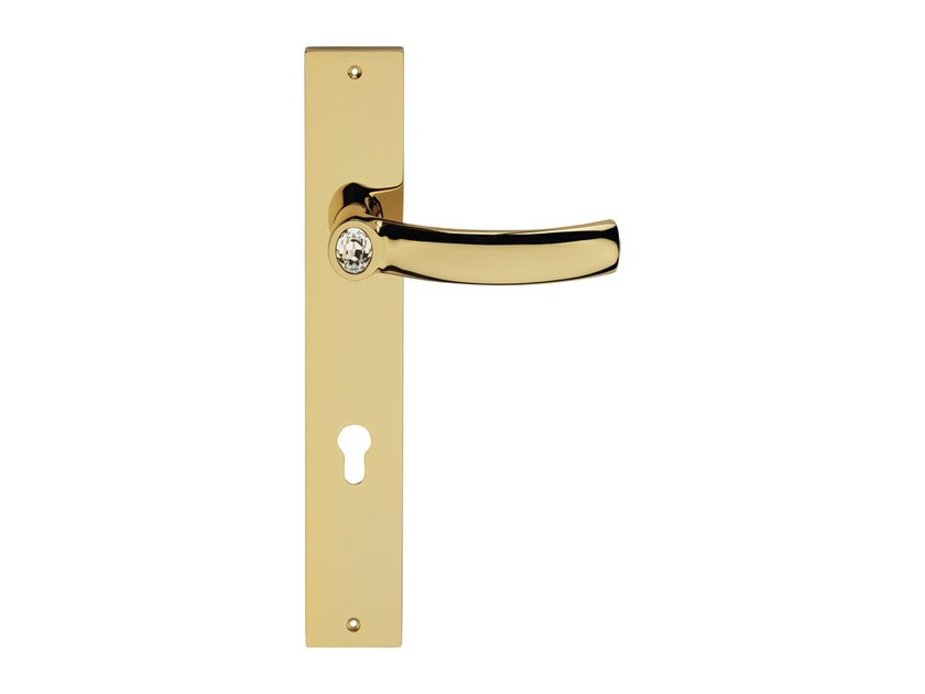 Chromed brass door handle with Swarovski® Crystals on back plate ELIPSE | Door handle on back plate by LINEA CALI'