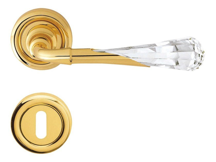 Chromed brass door handle with Swarovski® Crystals on rose with lock GEMMA | Door handle with lock by LINEA CALI'