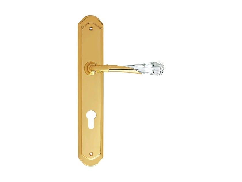 Chromed brass door handle with Swarovski® Crystals on back plate GEMMA   Door handle on back plate by LINEA CALI'