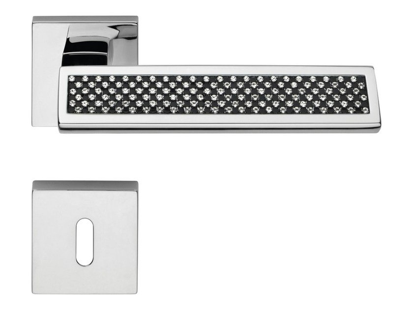 Chromed brass door handle with Swarovski® Crystals with lock RIFLESSO BLACK | Door handle with lock by LINEA CALI'