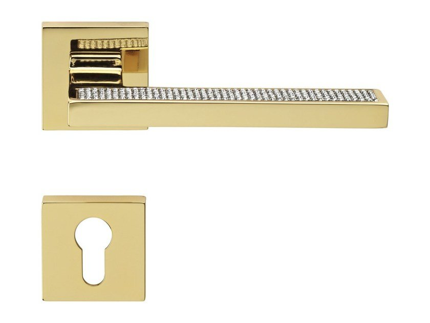 Chromed brass door handle with Swarovski® Crystals on rose with lock SINTESI MESH | Door handle with lock by LINEA CALI'