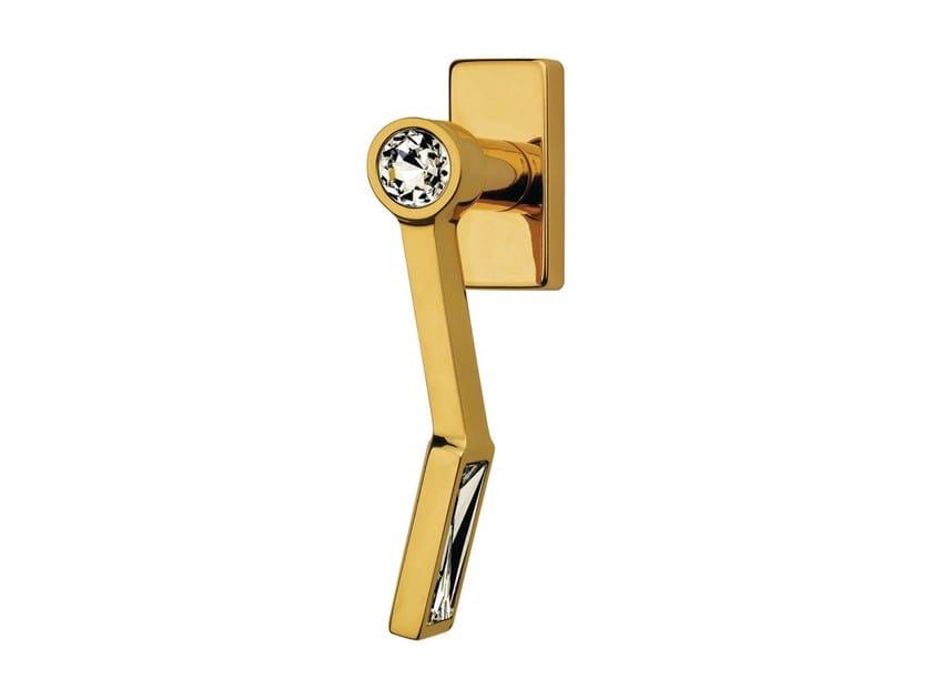 DK chromed brass window handle with Swarovski® Crystals on rose VIOLA | DK window handle by LINEA CALI'