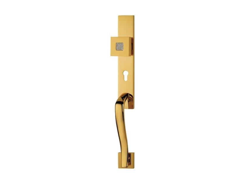 Chromed brass door knob with Swarovski® Crystals on back plate ZEN MESH | Door knob on back plate by LINEA CALI'