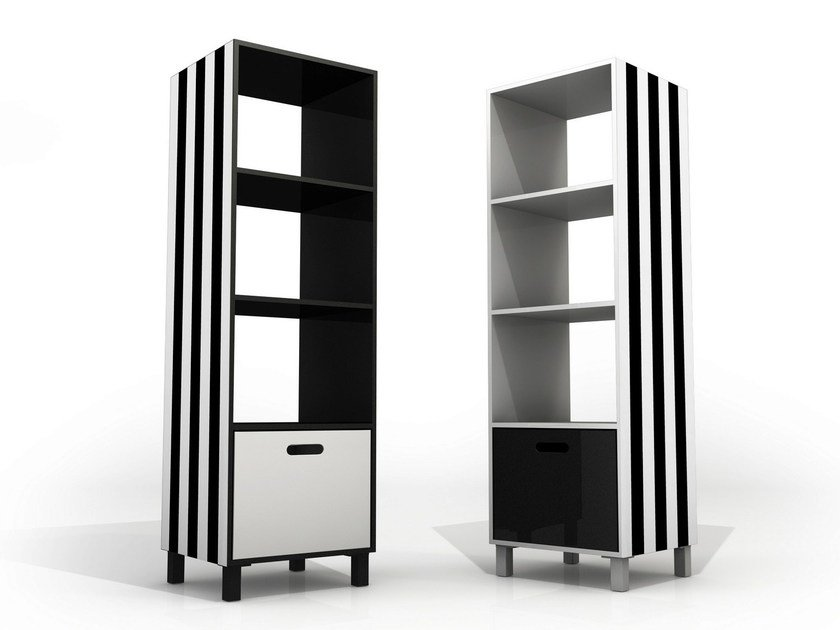 Open double-sided aluminium bookcase with drawers SIMBOLO | Bookcase by altreforme
