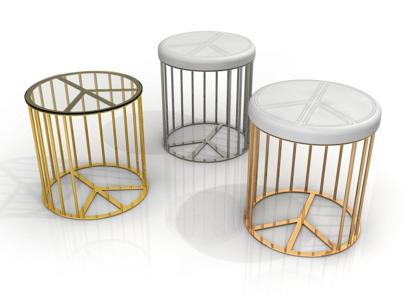 Upholstered aluminium garden pouf PACE | Pouf by altreforme