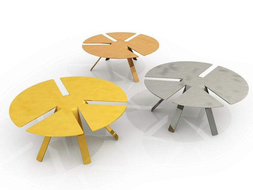 Low round aluminium coffee table PACE | Coffee table by altreforme