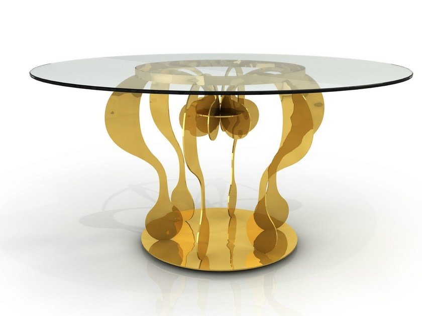 Round glass and aluminium table ENIGMA by altreforme
