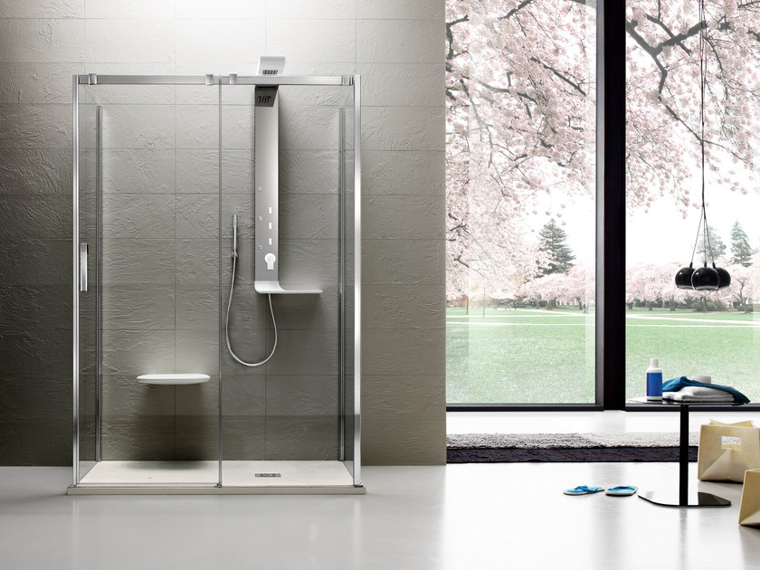Tempered glass shower cabin with tray with sliding door OTTO PREMIUM | Shower cabin by ARBLU