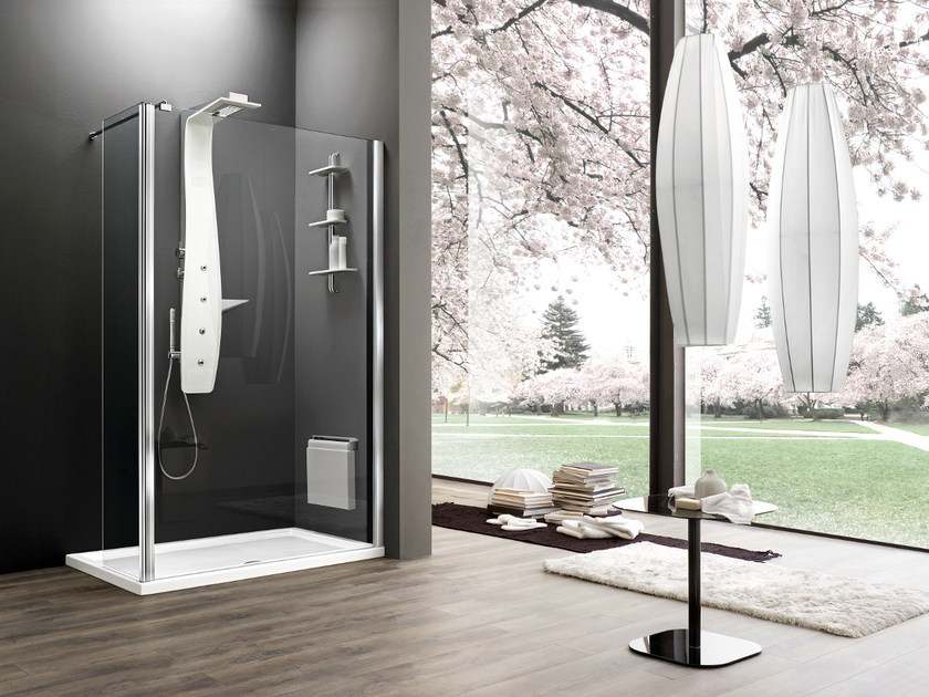 Corner tempered glass shower cabin with tray with sliding door OTTO PREMIUM | Corner shower cabin by ARBLU