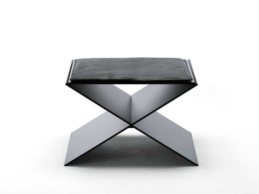 Low upholstered leather stool ANIN by Living Divani