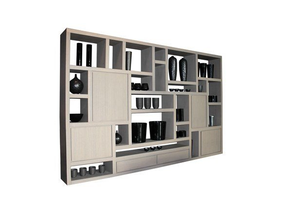 Open wall-mounted sectional wood-product bookcase MONDRI | Bookcase by Ph Collection