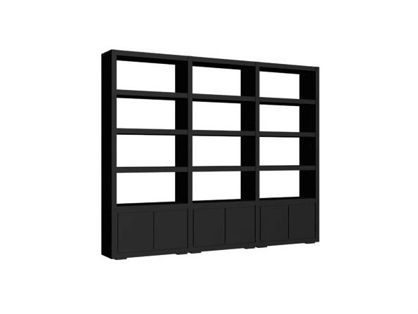 Open freestanding sectional wood veneer bookcase QUADRA LISSE | Bookcase by Ph Collection