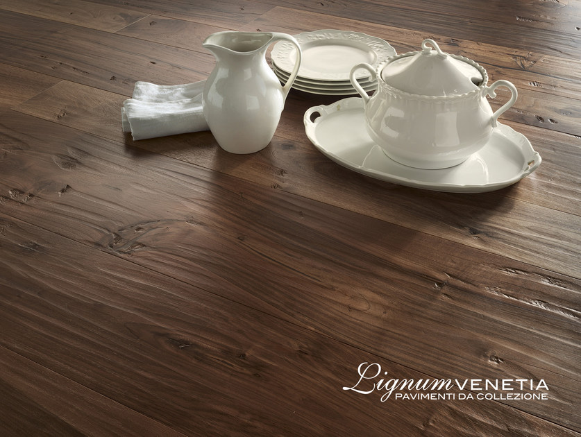 Brushed walnut parquet PALAZZO DUCALE by Lignum Venetia