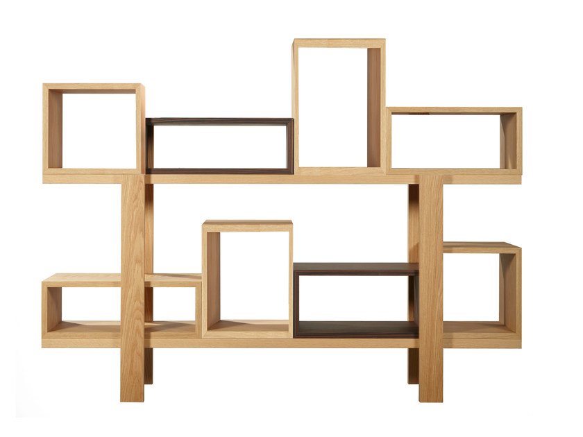 Open double-sided sectional wood veneer bookcase DURAS D2 | Double-sided bookcase by AZEA