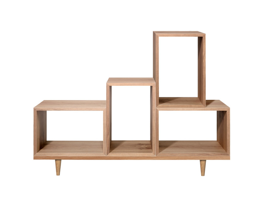 Open sectional wood veneer bookcase KY by AZEA