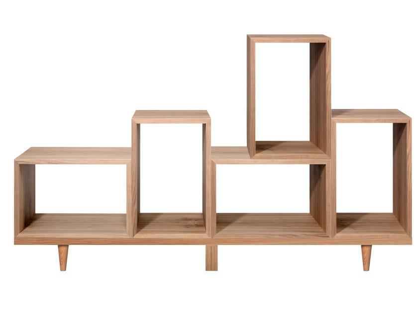 Open sectional wood veneer bookcase JE by AZEA
