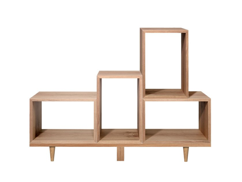 Open sectional wood veneer bookcase ZA by AZEA