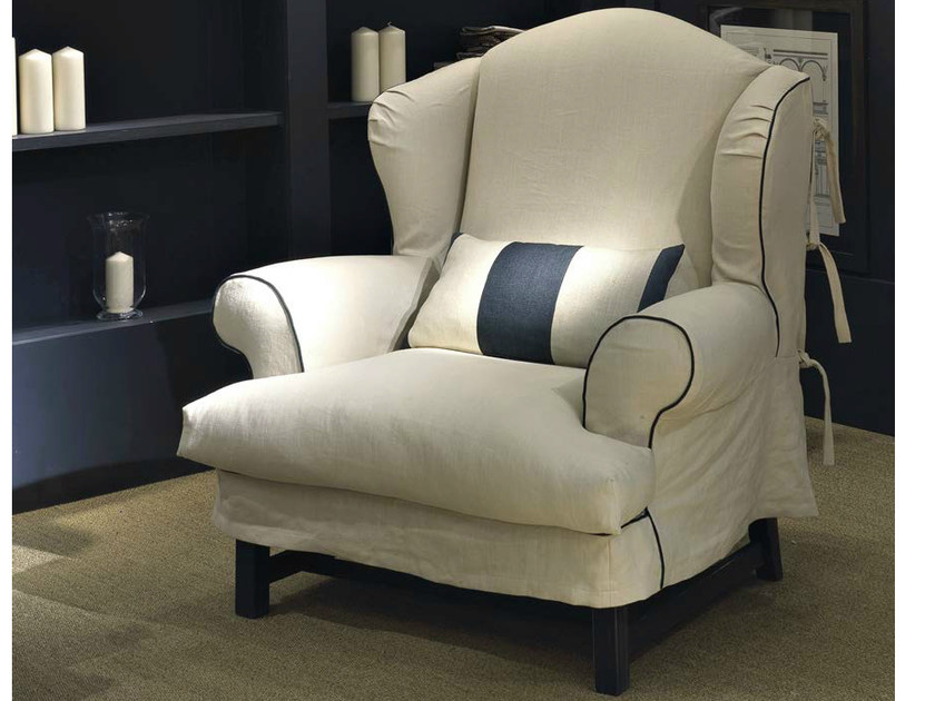 Upholstered fabric armchair with armrests OTTONE | Armchair by SOFTHOUSE