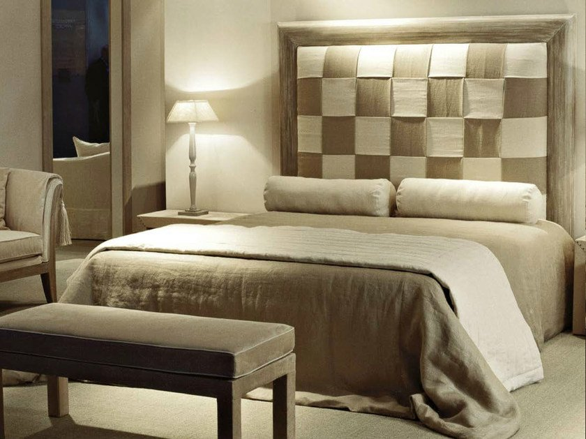 Fabric double bed with high headboard ROSA INTRECCIO by SOFTHOUSE