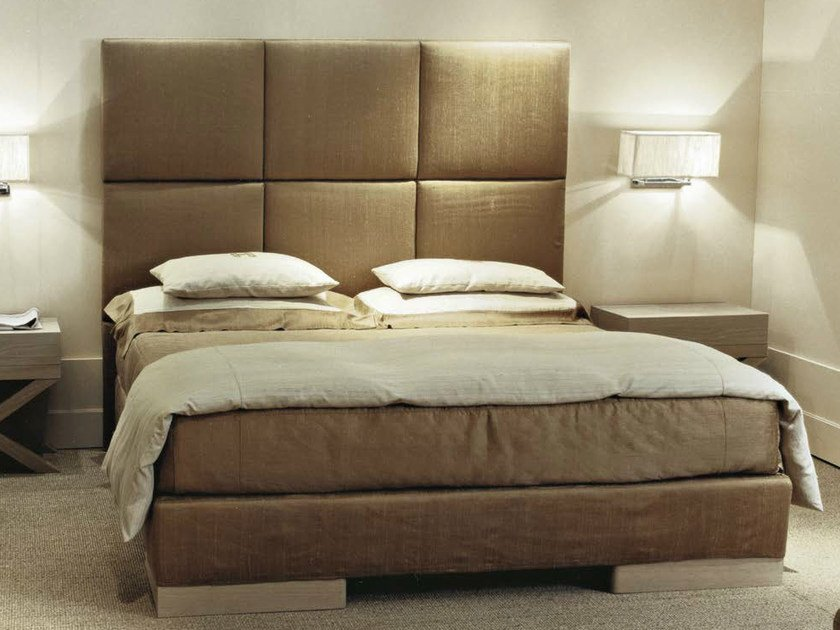Fabric double bed with high headboard FUMODILONDRA | Bed by SOFTHOUSE