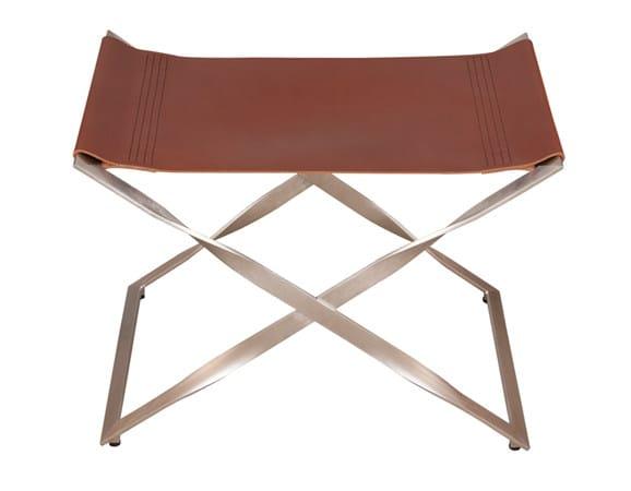 Low leather stool MARENGO by Hamilton Conte Paris
