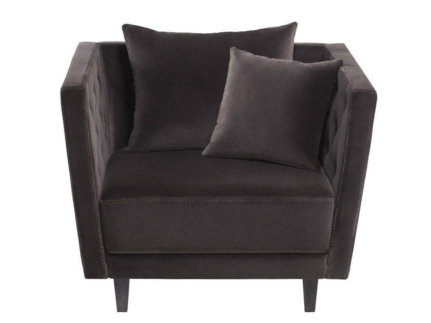 Upholstered velvet armchair with armrests AMBASSADOR by AZEA