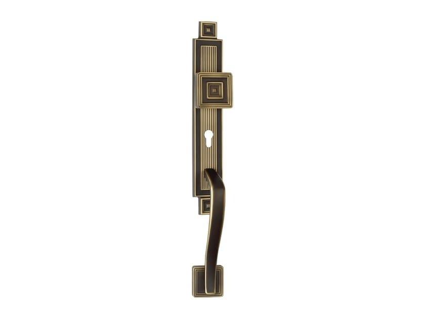 Chromed brass door knob with lock on back plate OPERA | Chromed brass door knob by LINEA CALI'