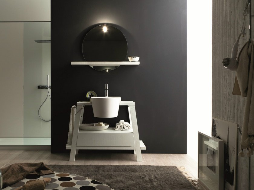Single oak vanity unit with mirror CANESTRO - COMPOSITION C25 by NOVELLO