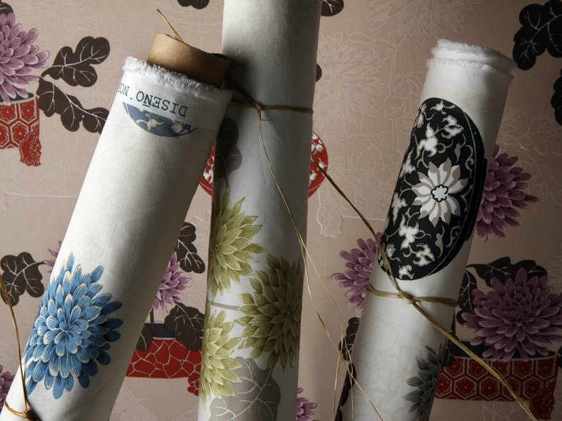 Printed cotton fabric with floral pattern NOBU by Equipo DRT