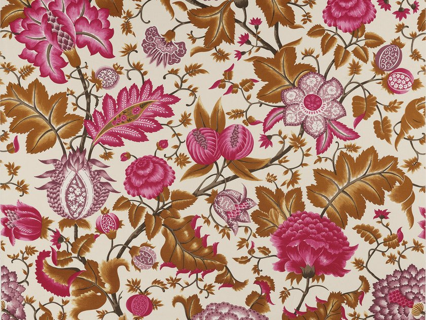 Printed cotton fabric with floral pattern REGENT by Equipo DRT