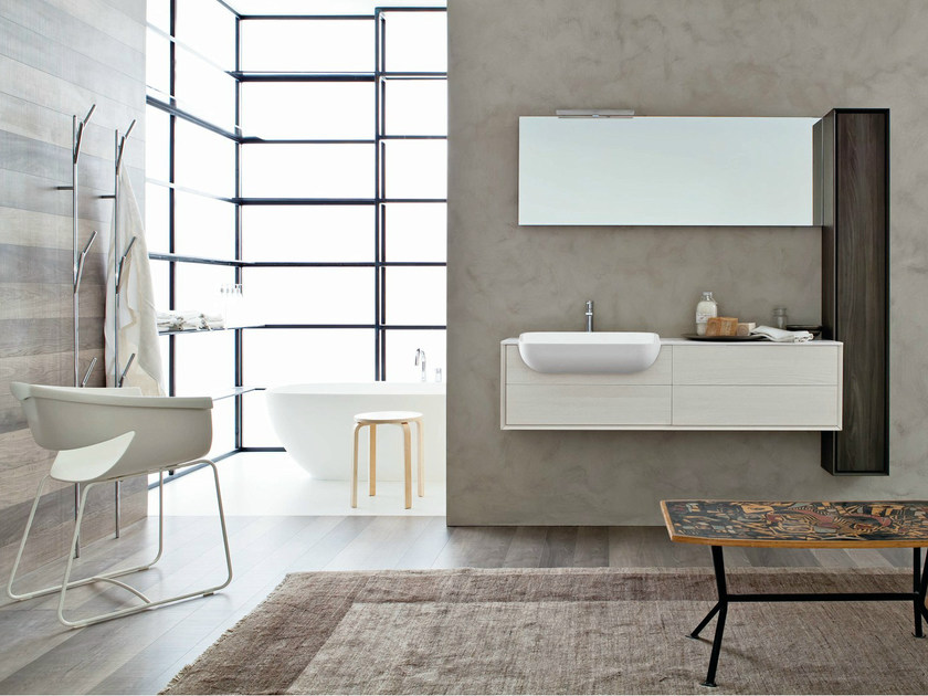 Wall-mounted HPL vanity unit with mirror LIBERA 3D - COMPOSITION L04 by NOVELLO
