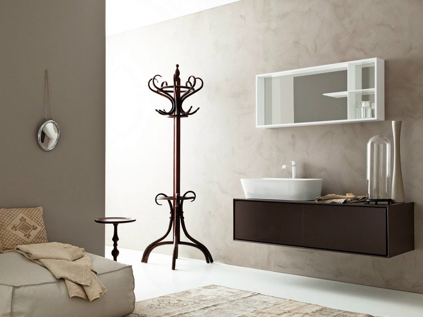 Lacquered wall-mounted vanity unit with mirror LIBERA 3D - COMPOSITION L05 by NOVELLO