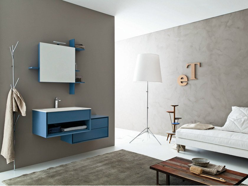 Lacquered wall-mounted vanity unit with mirror LIBERA 3D - COMPOSITION L08 by NOVELLO