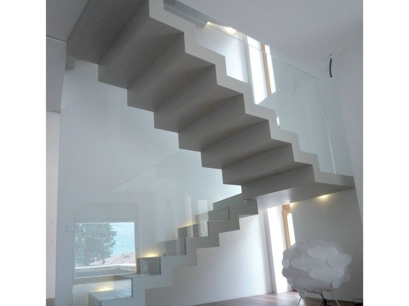 U-shaped self supporting Open staircase 700 | Open staircase by Interbau