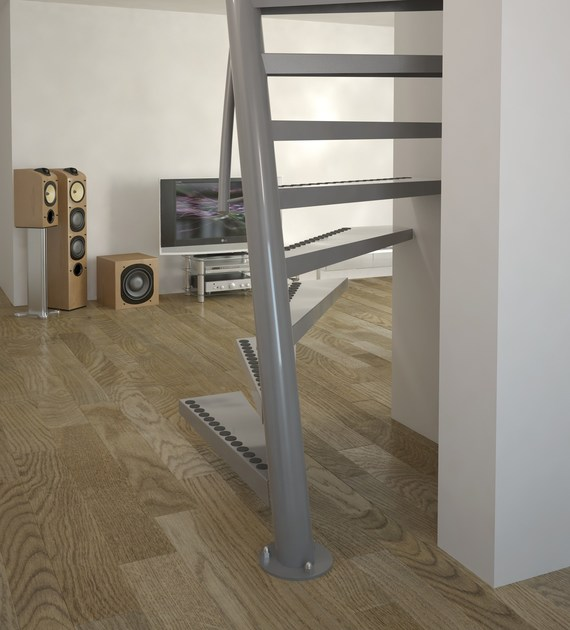 Square spiral staircase 1m2 by interbau for Square spiral staircase