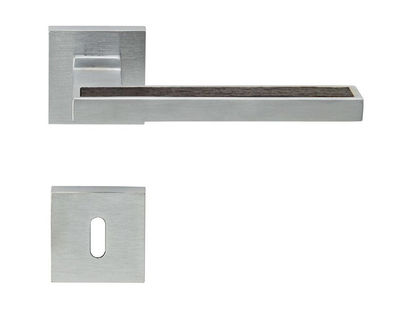 Chromed brass door handle on rose with lock SINTESI WENGÉ | Door handle with lock by LINEA CALI'