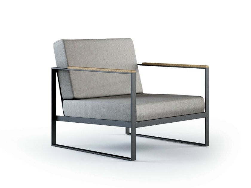 Sled base fabric garden armchair with armrests GARDEN EASY | Garden armchair by Röshults
