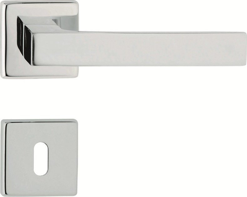 Chromed brass door handle on rose with lock ZEN   Door handle with lock by LINEA CALI'