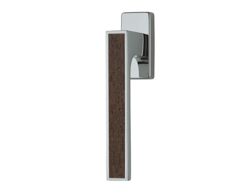 DK chromed brass window handle on rose ZEN WENGÉ | DK window handle by LINEA CALI'