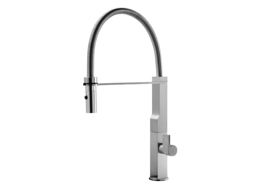 Kitchen mixer tap with swivel spout with pull out spray WALLY by GEDA