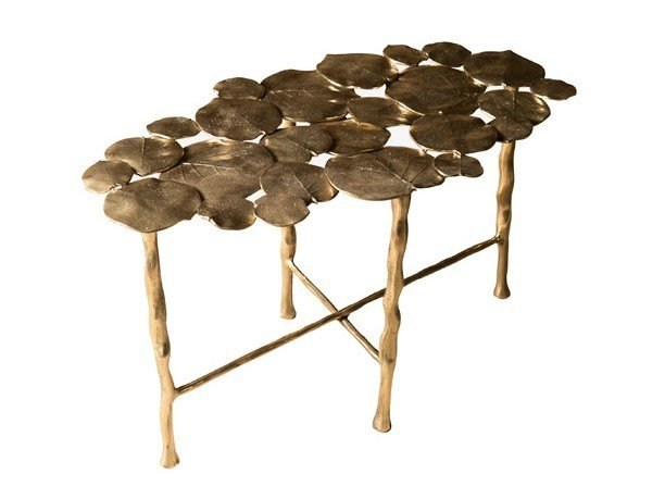 Oval brass coffee table NYMPHEA by Hamilton Conte Paris